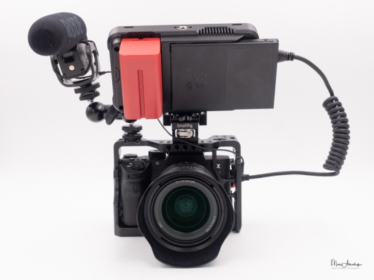 atomos ninja v, smallrig 1135 double end ball head with cold shoe and thumb screw, smallrig 2174 monitor mount with arri locating pins- 026